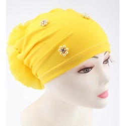 Women's Head Wrap Big Flower Cancer Chemo Hat Beanie Scarf Turban Cap Yellow