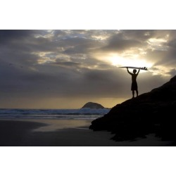 Posterazzi DPI1829393 A Surfer On Muriwai Beach New Zealand Poster Print by Deddeda, 17 x 11 found on Bargain Bro Philippines from Newegg Canada for $33.18