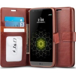 LG G5 Case, J & D [Wallet Stand] LG G5 Wallet Case Heavy Duty Protective Shock Resistant Wallet Case for LG G5 (Brown)