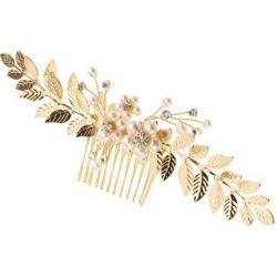 Gold Leaves Bridal Hair Comb Rhinestone Pearls Bridesmaid Pin Clip Accessory