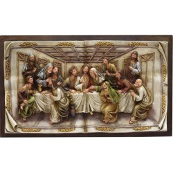 19.25' The Last Supper Inspirational Religious Christmas Wall Plaque with Brown Frame