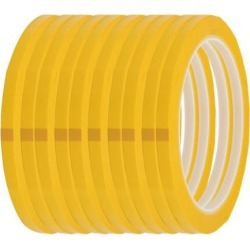 4mm Width 50m Long Single Sided Strong Self Adhesive Mylar Tape Yellow 10pcs