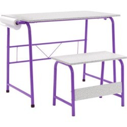 Studio Designs Project Center, Kids Craft Table with Bench - Purple / Spatter Gray