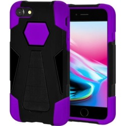 Amzer Dual Layer Hybrid KickStand Case - Black/ Purple for iPhone 8