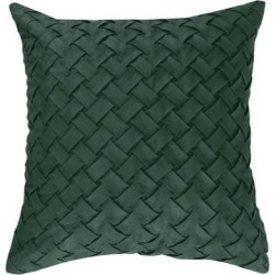 Throw Pillow Cover Stylish Basket Weave Pattern Soft Solid Decorative Pillow Case Home Decor Design Cushion Cover for Sofa Bedroom Car, Green.