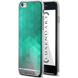 LUXENDARY CLEAR & TURQUOISE POLYGON STRIPES DESIGN CHROME SERIES CASE FOR IPHONE 6/6S PLUS