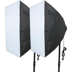 Global Bargains 2Pcs US Plug 40cmx60cm Four Flash Umbrella Softbox Kit for Photo Video Studio