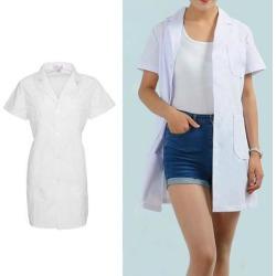 Unisex Lab Coat Laboratory Coat Warehouse Coat Doctor's Coat XL Women-Short Sleeve