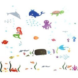 Unique Bargains Household Marine Animal Mermaid Pattern Removable Wall Sticker Decal Wallpaper found on Bargain Bro India from Newegg Canada for $12.22