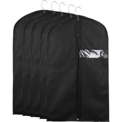 Garment Cover Bags Storage Bag Dress Suit Coat Jacket Protector Black Set of 5