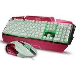DOBACNER Backlit gaming keyboard and mouse set mechanical suspension wired metal mouse and keyboard set