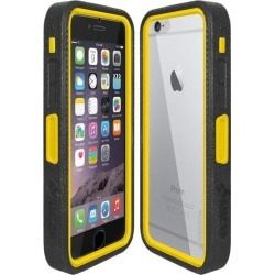 Amzer CRUSTA Rugged Case Black on Yellow Shell Tempered Glass with Holster for iPhone 6 Plus