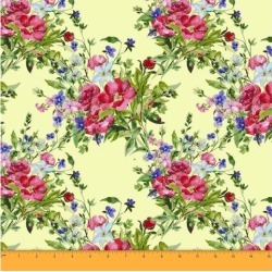 Soimoi Floral Printed Sewing Material 58 Inches Wide Cotton Voile Fabric Supplies By The Meter-Pale Yellow