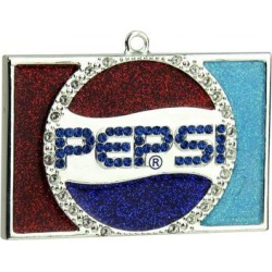 3' Decorative Silver Plated Pepsi Globe Logo Christmas Ornament with European Crystals
