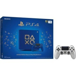 Playstation 4 Slim 1TB Days of Play Blue Limited Edition Gaming Console Bundle With an Extra Silver DualShock 4 Wireless Controller