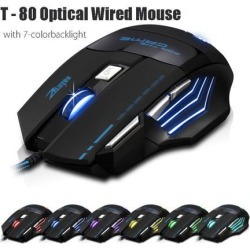 ZELOTES T80-X 5500DPIWired Gaming Mouse 7 Buttons Optical Professional Mouse Gamer Computer Mice For Laptops Desktops Raton Ordenador X7