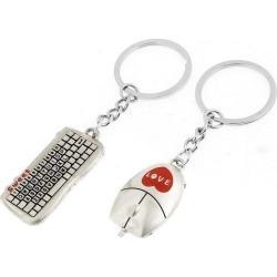 Unique Bargains Couple Silver Tone Keyboard Mouse Pendant Metal Keyring Key Chain Pair
