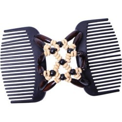Stretchy Double Side Hair Comb Clip Magic Wood Beads Hair Accessory Brown
