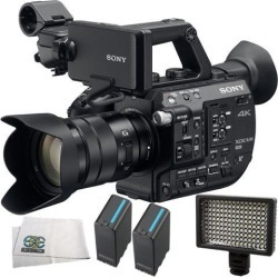 Sony PXW-FS5 XDCAM Super 35 Camera System with Zoom Lens 4PC Accessory Kit. Includes 2 Replacement BPU90 Batteries + 160 LED Video Light + Microfiber