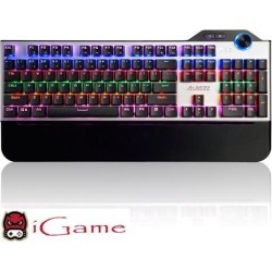 iGame Ajazz Assassin PC Gaming Mechanical Keyboard, Multicolor LED Backlit, Blue Mechanical Switches (Silver)