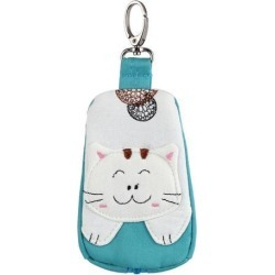 Lobster Clasp Zippered Cat Pattern Key Coin Card Holder Bag Purse Wallet Green