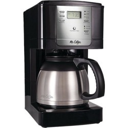 MR. COFFEE JWTX85-RB Black Advanced Brew 8-Cup Programmable Coffee Maker with Thermal Carafe Black/Chrome
