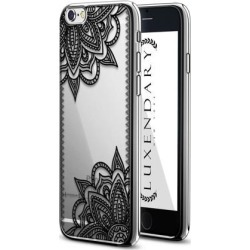 LUXENDARY BLACK LACE MANDALA DESIGN DESIGN CHROME SERIES CASE FOR IPHONE 6/6S PLUS