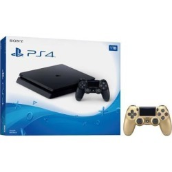 Playstation 4 Slim 1TB Jet Black Gaming Console Bundle With an Extra Gold DualShock 4 Wireless Controller