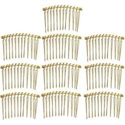 10pcs DIY Blank Metal Hair Clips Side Comb 12 Teeth Hair Accessories Gold