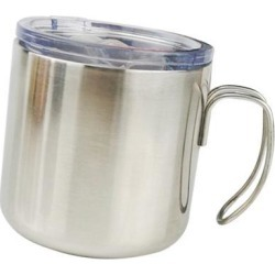 Stainless Steel Insulated Coffee Tea Mug Cup Camping/Travel w/ Lid Silver