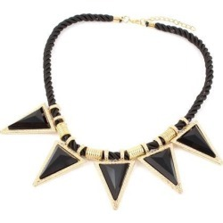 Unique Bargains Black Faceted Triangle Beads Pendant Twisted Rope Chain Collar Necklace for Lady