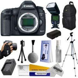 Canon 5D Mark III 22.3MP Full-Frame CMOS Sensor Digital SLR Essential Camera Kit with Full HD 1080p Video Recording at 30 fps + Backpack + Charger.