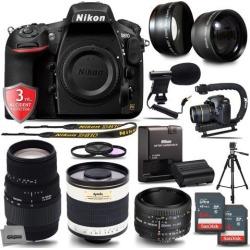 Nikon D810 36.3MP 1080P DSLR Camera w/ Wi-Fi & GPS Ready - 7 fps + 5 Lens - 21 to 1000mm - 128GB- 22PC Kit - Nikon 50mm 1.8D - Nikon 70-300G.