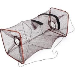 Unique Bargains 17.7' x 8.3' Nylon Metal Portable Fishing Landing Net Fish Angler Mesh Keepnet Crawfish Shrimp Brown