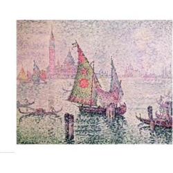 Posterazzi BALXIR37623LARGE The Green Sail Venice 1904 Poster Print by Paul Signac - 36 x 24 in. - Large