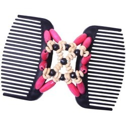 Stretchy Double Side Hair Comb Clip Magic Wood Beads Hair Accessory Rosy