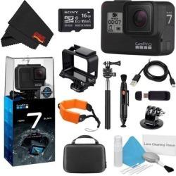GoPro HERO7 Black 16GB Bundle + Medium GoPro Case, Xtreme Active Monopod, and Orange Floating Strap