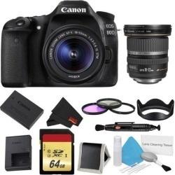 Canon EOS 80D DSLR Camera with 18-55mm Lens Bundle w/ 3 Piece Filter & Memory Kit + 10-22mm Lens (Intl Model)