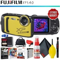FUJIFILM FinePix XP140 Digital Camera (Yellow) + Memory Card Kit + Carrying Case + Floating Strap + Editing Software + Cleaning Kit + Extended