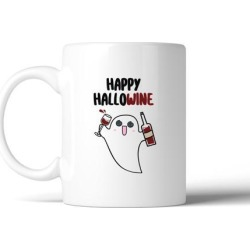 Happy Hallowine White Ceramic Coffee Mug Funny Gift For Wine Lovers