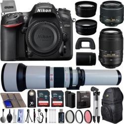 Nikon D7200 24.2MP 1080P DSLR Camera w/ 3.2' LCD - Wi-Fi & GPS Ready + 5 Lens - 18 to 2600mm - 64GB - 30PC Kit - Nikon 18-55VR - Nikon AF-S.