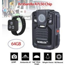 Boblov HD 1296P IR Night Vision Police Camera Body Video Camera DVR 64GB+Remote Control