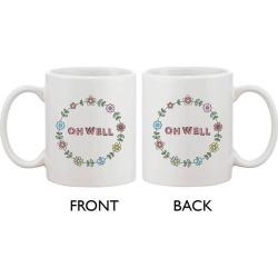 Cute Ceramic Coffee Mug - Oh Well Flower Wreath Mug 11oz Coffee Mug Cup