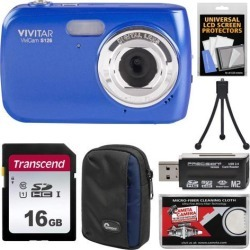 Vivitar ViviCam S126 Blue Digital Camera + 16GB Card & Case Kit