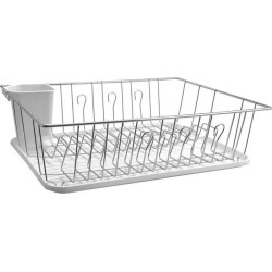 Mega Chef 17.5 Inch White Single Level Dish Rack with 14 Plate Positioners and a Detachable Utensil Holder