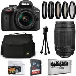 Nikon D3400 24MP DSLR Digital Camera AF-P 18-55mm + NIKKOR Lens 70-300mm + High Definition Professional 5 Piece Filter Kit + 32GB Memory SD Card.