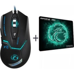 Wanmingtek X8 Wired Gaming Mouse Professional 3200dpi USB Optical Mouse Gamer Mice 6 Buttons Computer Mouse E-sport Gamer with Gaming Pad For PC.
