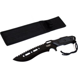 Full Tang 12' Black Blade Combat Ready Hunting Knife With Sheath