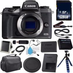 Canon EOS M5 Mirrorless Digital Camera 1279C001AA (International Model) + LP-E17 Replacement Lithium Ion Battery + 128GB SDXC Class 10 Memory Card +