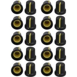 20Pcs 14.7mm x 14.5mm Plastic Potentiometer Volume Control Rotary Knob Cap Yellow